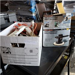 BOX OF TOOLS EXTENSION CORDS AND POWER BARS