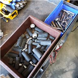 BOX OF IMPACT SOCKETS AND TOTE OF TAP AND DIE