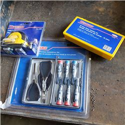 NEW WESTWARD 9 PIECE MINI PLIER/SCREWDRIVER SET, LASER LINE GENERATOR AND 60 PC GREASE ACCESSORY KIT