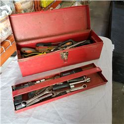 RED TOOL BOX W/ VARIOUS HAND TOOLS ETC