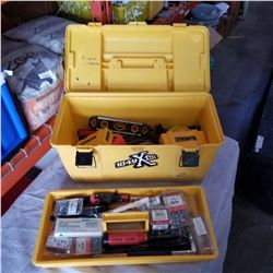 YELLOW TOOL BOX W/ CONTENTS