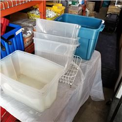 6 CLEAR PLASTIC STORAGE BINS AND SMALL BASKET