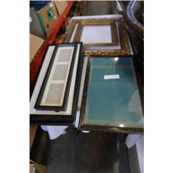 THREE ANTIQUE PICTURE FRAMES AND 4 DECORATOR PICTURE FRAMES