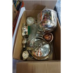 BOX OF SILVER PLATE SERVING PIECES