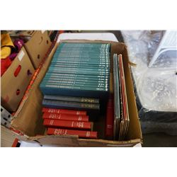 BOX OF WORLD WAR II ENCYCLOPEDIAS, LASER DISCS, AND HARD COVERS