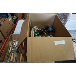 BOX OF FIGURES, POTTERY, DECORATIONS, AND CARVING SETS