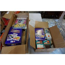 2 BOXES OF HOCKEY CARD AND BASEBALL CARD PACKS AND CARDS
