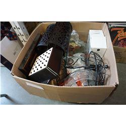 BOX OF GLASSWARE AND DECOR