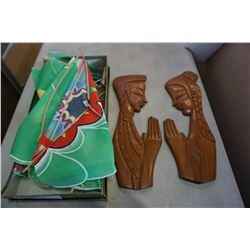 VINTAGE CHINESE KITE AND 2 WOOD CARVED FIGURES