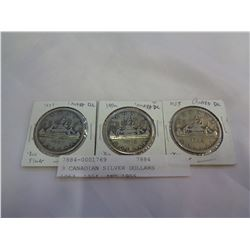 3 CANADIAN SILVER DOLLARS 1953, 1954, AND 1955