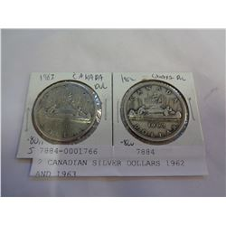2 CANADIAN SILVER DOLLARS 1962 AND 1963