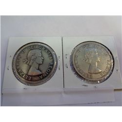 2 CANADIAN SILVER DOLLARS 1953 AND 1959