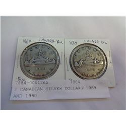 2 CANADIAN SILVER DOLLARS 1959 AND 1960
