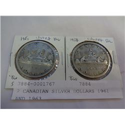 2 CANADIAN SILVER DOLLARS 1961 AND 1963