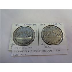 2 CANADIAN SILVER DOLLARS 1956 AND 1957