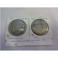 2 CANADIAN SILVER DOLLARS 1961 AND 1962