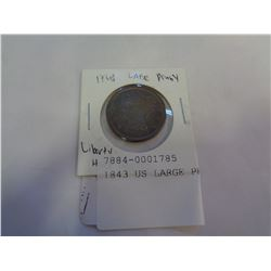 1843 US LARGE PENNY