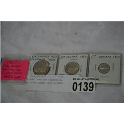 1967 CANADIAN CENTENNIAL SILVER COINS .800 SILVER