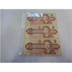 3 1986 2 DOLLAR BILLS