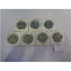 7 CANADIAN SILVER DOLLARS 1972