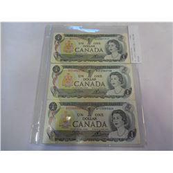3 1973 CANADIAN 1 DOLLAR BILLS