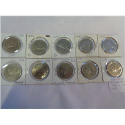 10 CANADIAN SILVER DOLLARS - 4 1974, 2 1975, 2 1976, AND 2 1978