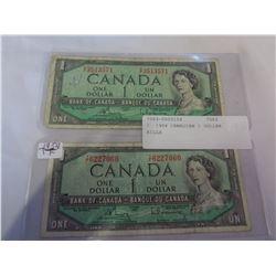 2 1954 CANADIAN 1 DOLLAR BILLS