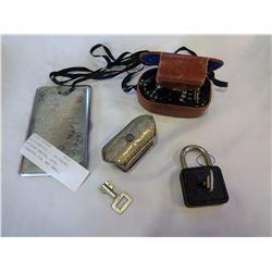 WESTORMASTER II UNIVERSAL EXPOSURE METER, LOCK, CIGARETTE TIN, AND SMALL JEWELLERY BOX