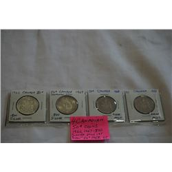 4 CANADIAN 50c COINS 1966, 1967 .800 SILVER 1ST NEWER 50c 1968, 1969