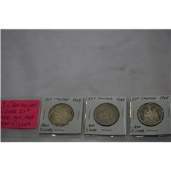 3 CANADIAN SILVER 50c COINS 1963, 1964, 1965 .800 SILVER