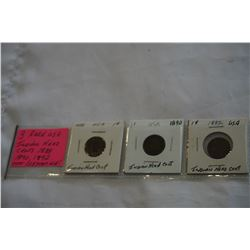 3 RARE USA INDIAN HEAD CENTS OVER 125 YEARS OLD 1888, 1890, 1892