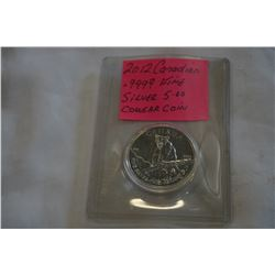 2012 CANADIAN $5 FINE SILVER .9999 COUGAR COIN 1 TROY OUNCE SILVER