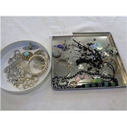 2 TRAYS OF BEADED, RHINESTONE, AND VARIOUS OTHER JEWELLERY