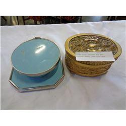 RETRO BLUE DRESSER BOX AND VINTAGE BRASS JEWELLERY BOX