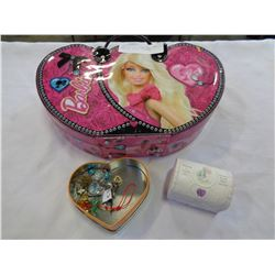 BARBIE TRAVEL CASE, JEWELLERY BOX, AND TIN W/ CONTENTS