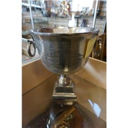 LARGE CHATEAU ST LEMOINE TROPHY CUP ENGRAVED BARWARE, CHAMPAGNE BUCKET MADE OF ALUMINUM