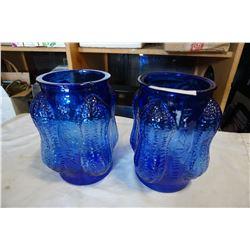 2 VINTAGE BLUE PEANUT PLANTERS JARS