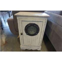 WHITE 1 DOOR PORTHOLE CUPBOARD