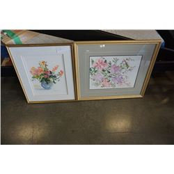 2 GOLD FRAMED SIGNED WATERCOLOURS