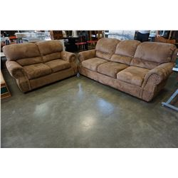 BROWN MICROSUEDE STUDDED SOFA AND LOVE SEAT