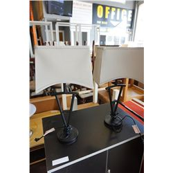 PAIR OF BLACK MODERN TABLE LAMPS