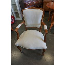 CARVED WOOD FRAMED ARM CHAIR