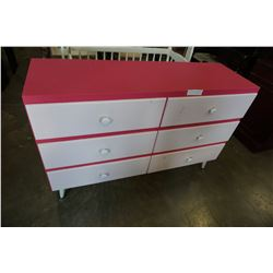 PAINTED WHITE AND PINK 6 DRAWER DRESSER