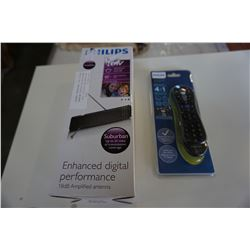 NEW OVERSTOCK PHILIPS 18DB AMPLIFIED HD DIGITAL ANTENNA WITH 4 IN 1 UNIVERSAL REMOTE