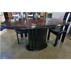 BLACK LAQUER DINING TABLE W/ 6 CHAIRS AND JACK KNIFE LEAF