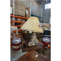2 DORCY LAMPS AND METAL STALLION HORSE LAMP