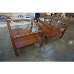 PAIR OF GLASSTOP END TABLES