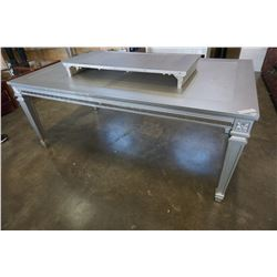 HOME ELEGANCE GREY MODERN DINING TABLE WITH EXTENSION, CUSTOMER RETURN, SURAFCE MARKS, RETAIL $1699