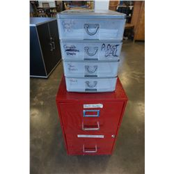 2 DRAWER RED FILING CABINET AND 3 DRAWER ORGANIZER