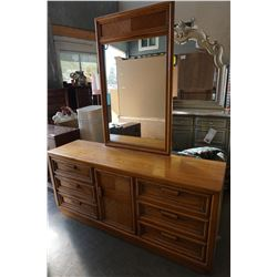 OAK 6 DRAWER DRESSER WITH MIRROR